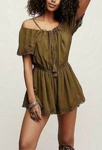 Free People Green Off The Shoulder Romper M